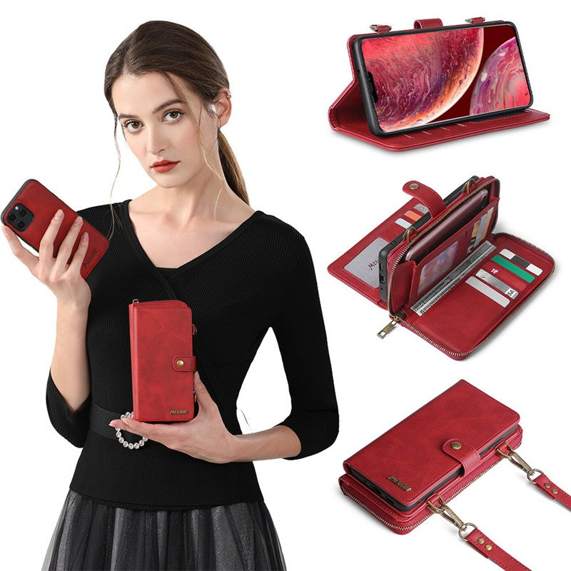 Wallet Backpack Strong Adsorption Leather Flip Phone Cases
