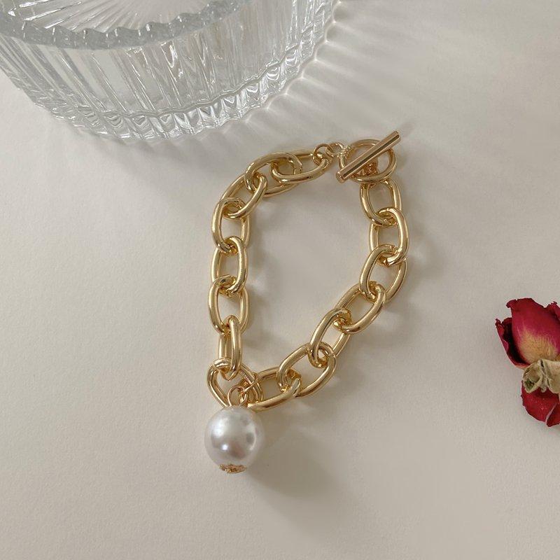 Vintage Portrait Pearl Coin Chain Bracelet