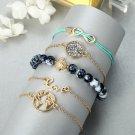 Turtle Grey Beaded Diamond Turquoise Bracelet Set Of Five