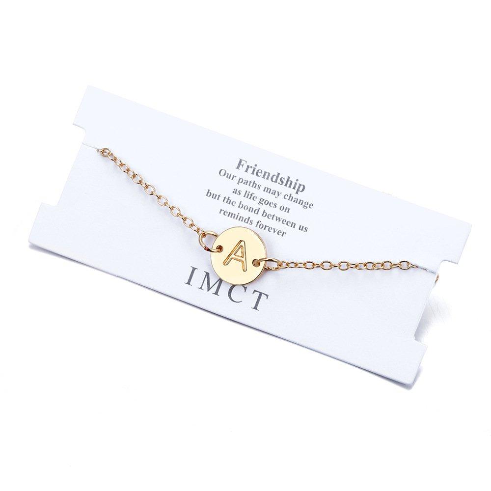 Popular English Alphabet Alloy Disc Pendant Bracelet Bracelet