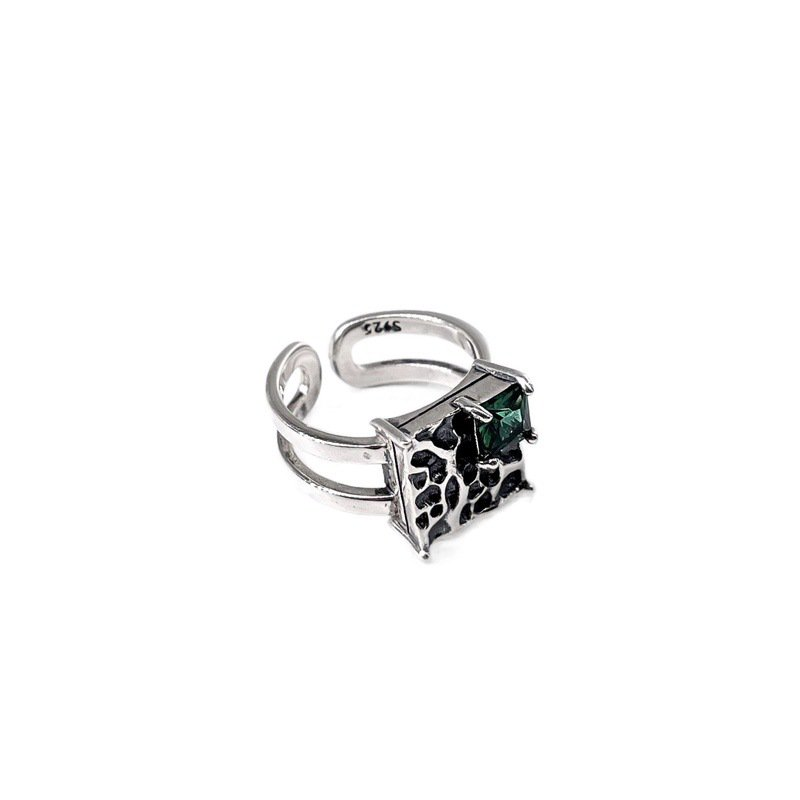 Vintage Silver Square Dark Green Diamond S925 Sterling Silver Ring