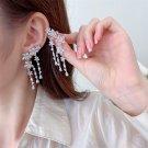 Flower Tassel Pendant Earrings  Crystal Dangle