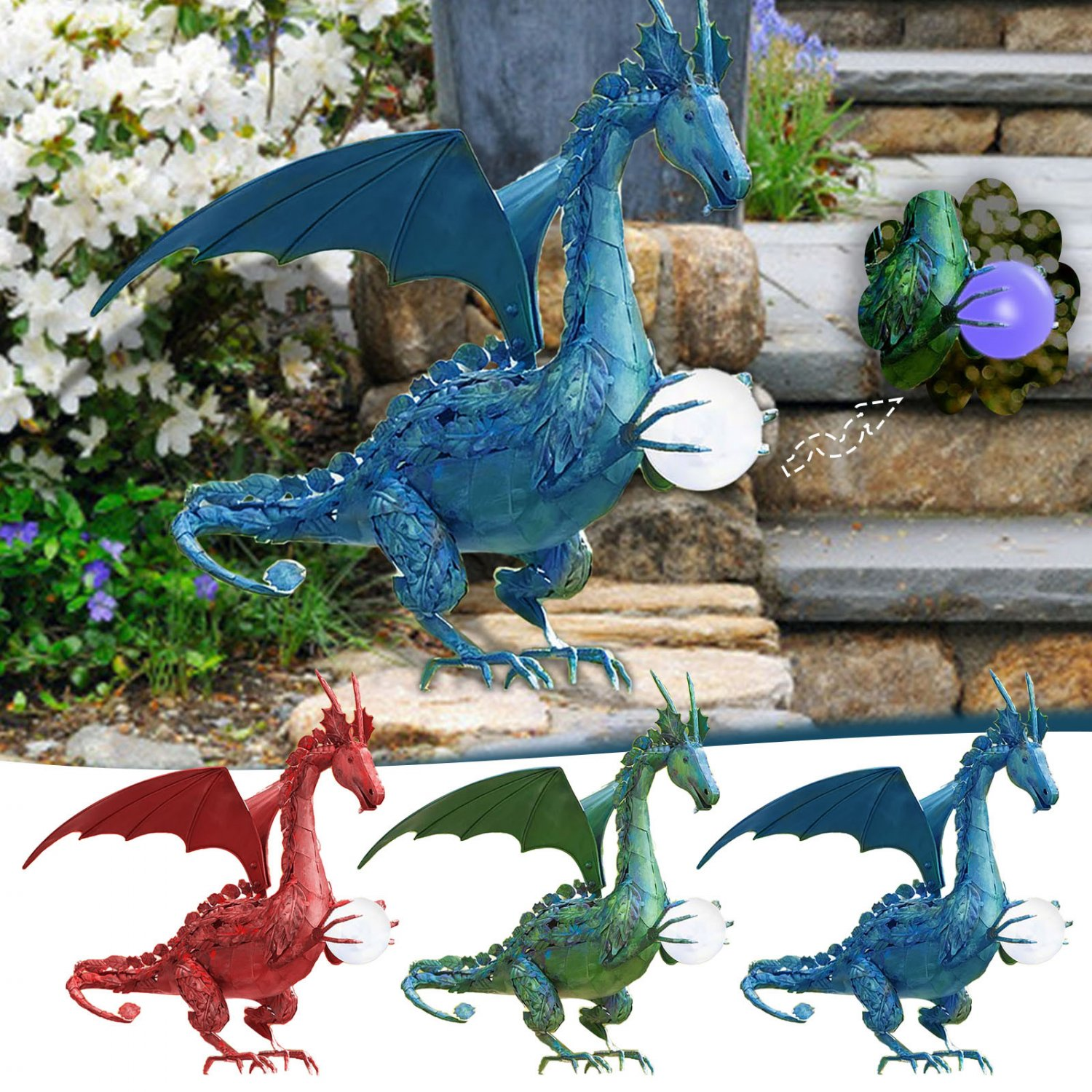 Flying Dragon Holding A Ball Statue For Garden Decorations