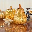 Glass Pumpkin Light LED Glowing Delicate Halloween Decorative