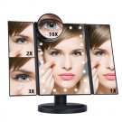 Three-sided Foldable Magnifying Desktop Makeup Mirror With Lamp