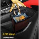 LED Car Trash Can Organizer Garbage Holder Automobiles Storage Bag