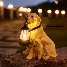 LED Solar Light Dog Lantern Sculpture Resin Craft Ornament Home Porch Decor Garden