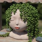 Sculpture Flowerpot With Closed Eyes Doll Garden Decoration Ornaments