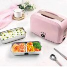 Portable double deck electric heating lunch box