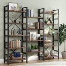 Triple Wide 5-Shelf Bookcase, Etagere Large Open Bookshelf Vintage