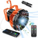 Portable Camping Fan, 3-in-1 Rechargeable USB Tent Ceilling Fan & LED