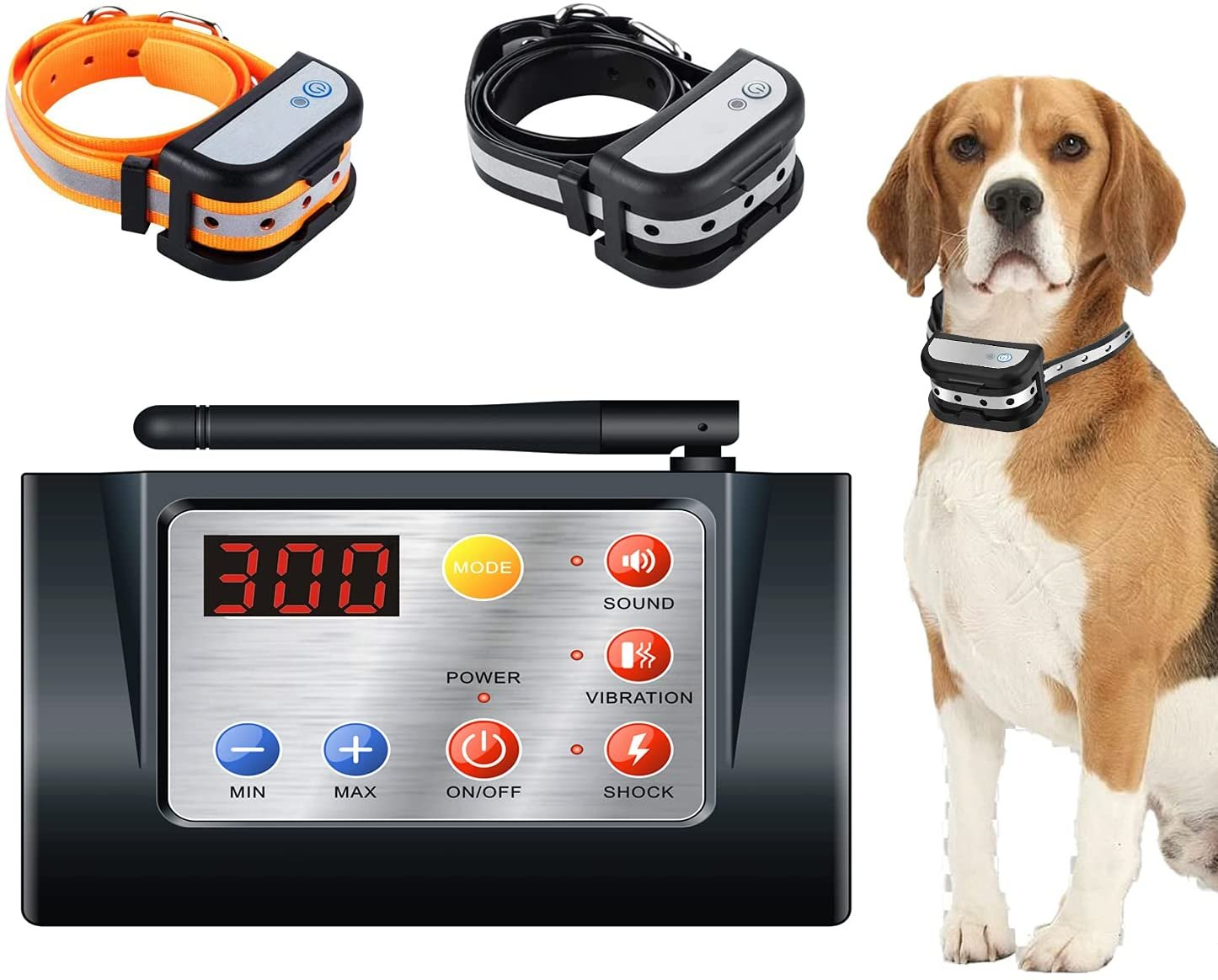 Wireless Dog Fence System, 2 in 1 Wireless Dog Fence with Training Collars
