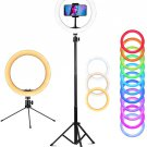 """10"""" Ring Light with Stand, 26 Colors RGB LED Ring"""