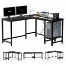 L-Shaped Computer Desk, 55-Inch Corner Desk for Home Office