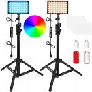 2 Packs RGB LED Video Light with Adjustable Tripod Stand/White Filters