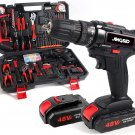 153Pcs Household Power Tools Drill Set with 2 Batteries, 1H Fast Charger, 24+1 Torque Setting