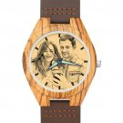 Men's Engraved Wooden Photo Watch Brown Leather