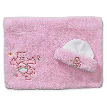 Care Bears Pink poodle plush cap & blanket set in pink