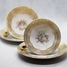 Set of 2 Antique Hand painted German Gareis, Kuhnl & Co Bavaria Porcelain Bone China Cup and Saucer