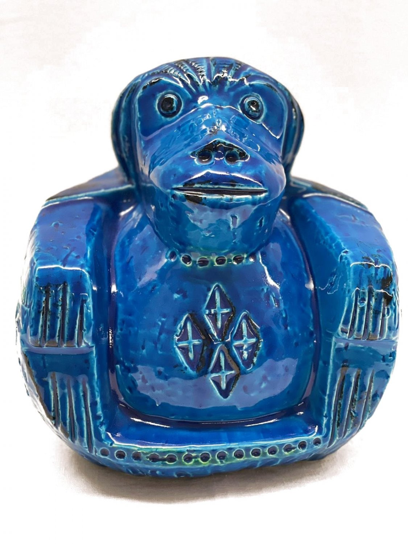 Bitossi Pottery Rimini Blu Aldo Londi Italian Blue Glazed Ceramic Monekey