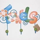 """NEW'"" WHIMSICAL TIN TOWEL RACK - 3 HOOKS"