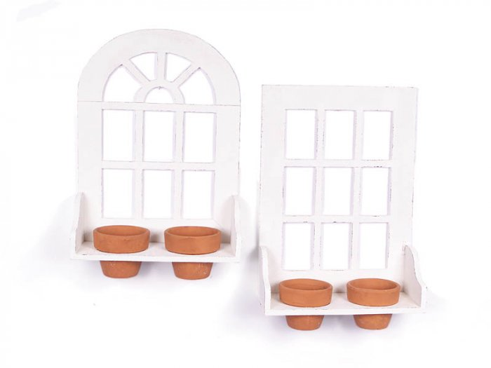 "NEW"" TWO FRENCH WINDOWS POT HOLDER WITH FOUR POTS"