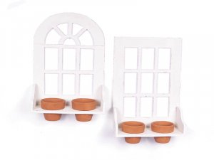 """NEW"""" TWO FRENCH WINDOWS POT HOLDER WITH FOUR POTS"""