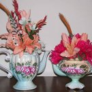 TWO MATCHING ELEGANT TEA POT FLORAL ARRANGEMENTS