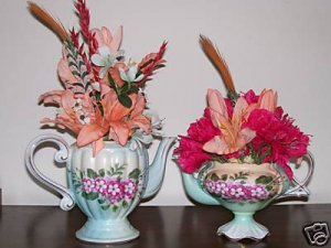 TWO MATCHING ELEGANT TEA POT FLORAL ARRANGEMENTS