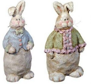 """""""NEW"""" MR. BUNNY AND MRS. BUNNY - PAPER MACHE - 7.25"""""""