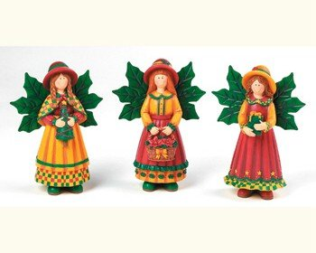 """""""NEW"""" THREE HANDPAINTED COUNTRY ANGELS - 5.5""""H"""