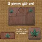 dark finish 3 Piece Personalised Gift Set Engraved Rolling tray Stoner Gift Cannabis 420 stash box