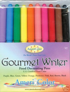 AmeriColor Edible Ink Food Color Decorating Pens 10 Set / FREE Shipping USPS Ground in USA