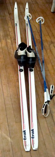 Cross country skis, bindings, boots/shoes, and poles LN
