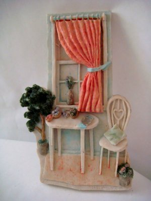 Plaster 3-D Miniature Room Wall Hanging Window & Table