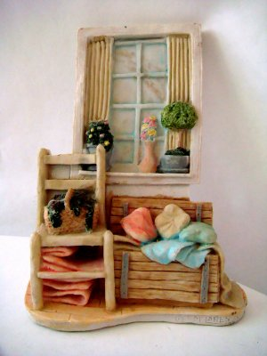 Plaster 3-D Miniature Room Wall Hanging, chest, Chair
