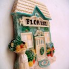Miniature Plaster 3-D Florist Shop w Lady (1st) +magnet