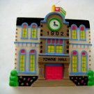 Miniature Plastic Towne Hall, 1902, clip with magnet