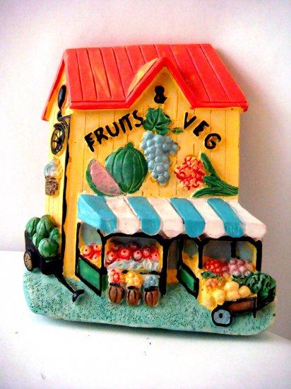 Miniature Plaster 3-D Fruit & Vegetable Shop +magnet