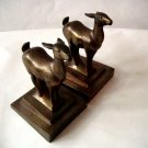 Pair Cast Brass Bookends Deer German imprint