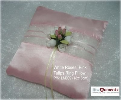 White Roses with Sweet Pink Tulips Wedding Ring Pillow (TOP SELLER)