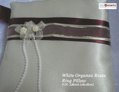 Ivory Satin, White Organza Roses Ring Pillow (LM016)