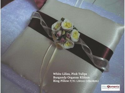 Ivory Satin, White Lilies, Pink Tulips Bungundy Organza Ring Pillow (LM022)
