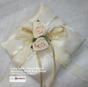 Ivory Satin, Peach Rose & Pearl Lace ROM/Wedding Ring Pillow (LM026)