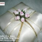 Ivory Satin, Pink Rose & Pearl Lace ROM/Wedding Ring Pillow (LM028)