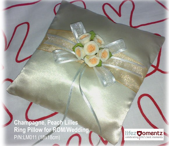 Champagne, Peach Lilies Wedding Ring Pillow (LM001)