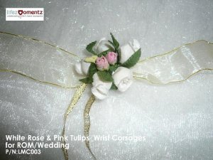 White Roses & Pink Tulips Wrist Corsages or ROM/Wedding (LMC003)