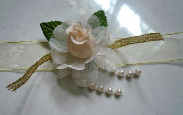 Champagne Satin, Peach Rose, Pearl Lace Wrist Corsages (LMC001)