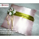 Pink Satin, White Roses, Golden Lace Ring Pillow (LM035)