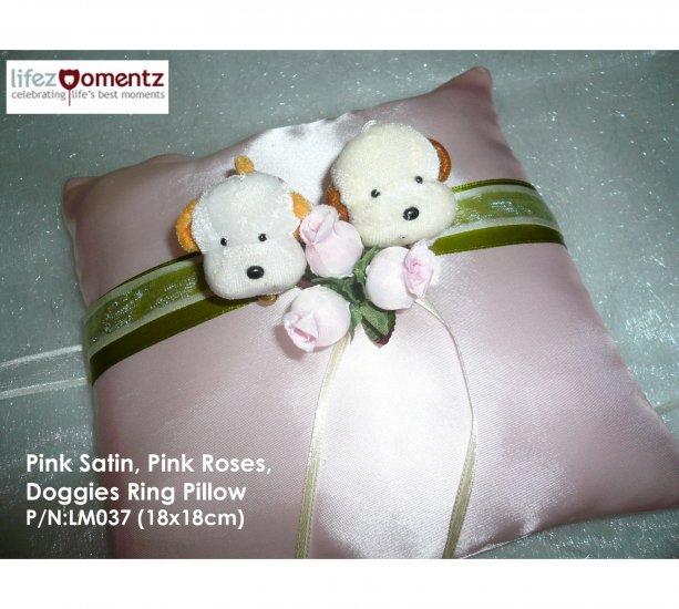 Pink Satin, Pink Roses Doggies Wedding Ring Pillow  (LM037)